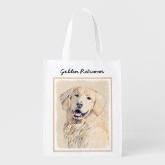 Golden Retriever Painting - Cute Original Dog Art Reusable Grocery Bag