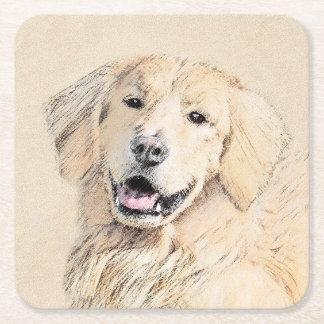 Golden Retriever Painting - Cute Original Dog Art Square Paper Coaster