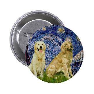 Golden Retriever Pair 3 - Starry Night 2 Inch Round Button