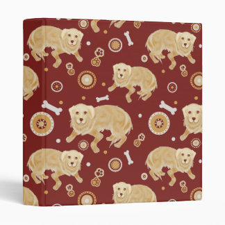 Golden Retriever Pattern 3 Ring Binder