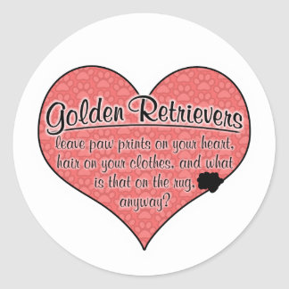 Golden Retriever Paw Prints Dog Humor Round Sticker