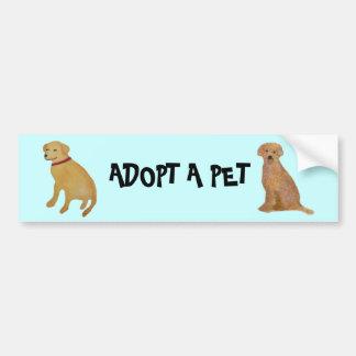 Golden Retriever Pet Adoption Bumper Sticker