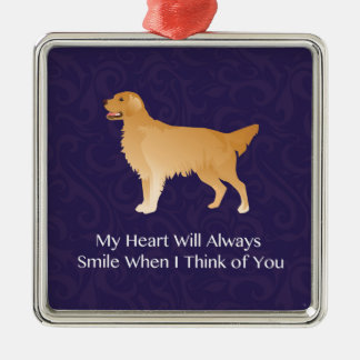 Golden Retriever - Pet Memorial- Thinking of You Silver-Colored Square Ornament