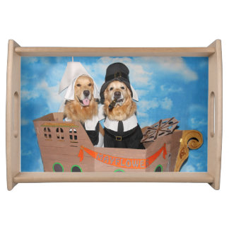 Golden Retriever Pilgrim Mayflower Thanksgiving Serving Tray