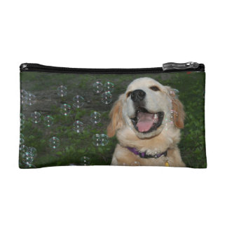Golden Retriever Playing with Bubbles Makeup Bags