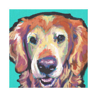 Golden Retriever Pop Art on Stretched Canvas