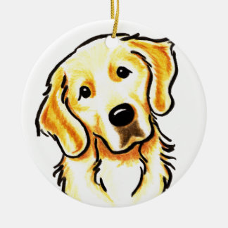 Golden Retriever Portrait Personalized Round Ceramic Ornament
