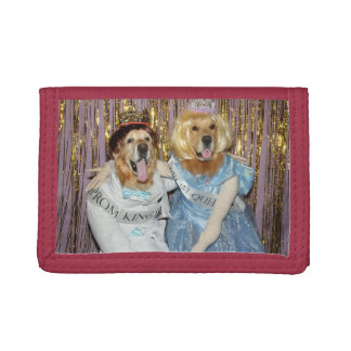 Golden Retriever Prom King and Queen Trifold Wallet