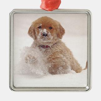 Golden Retriever Pup in Snow Metal Ornament