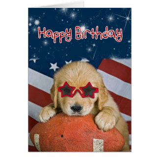 Golden Retriever Pup on Football Birthday Card