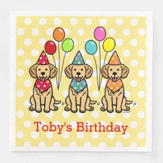 Golden Retriever Puppies Birthday Polka Dot Paper Dinner Napkin