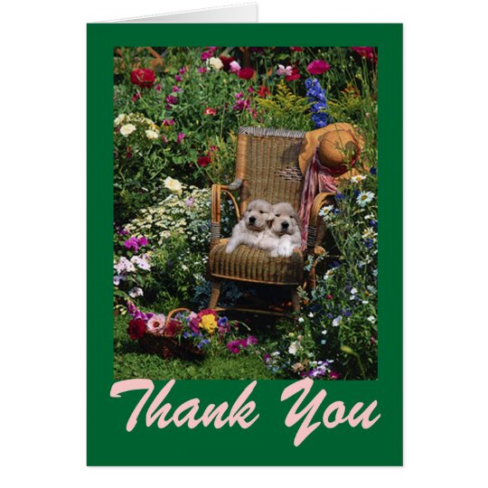 Golden Retriever Puppies Garden Thank You Card