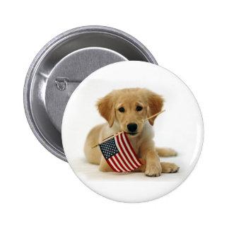 Golden Retriever Puppy and Flag 2 Inch Round Button