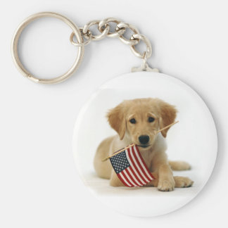 Golden Retriever Puppy and Flag Key Chain