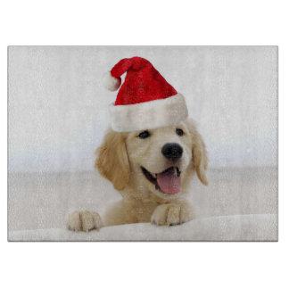 Golden Retriever Puppy Christmas Cutting Board