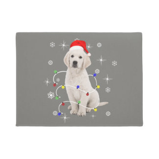 Golden Retriever Puppy Dog Holiday Christmas Doormat