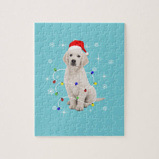 Golden Retriever Puppy Dog Holiday Christmas Jigsaw Puzzle