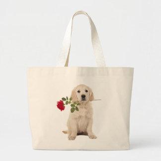 Golden Retriever Puppy Dog Pink Love Heart Tote