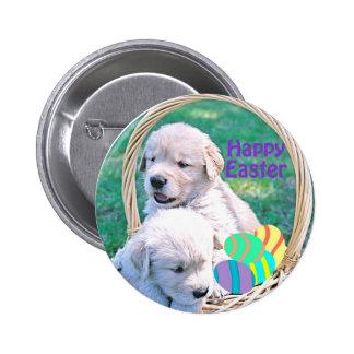 Golden Retriever Puppy Easter Basket 2 Inch Round Button
