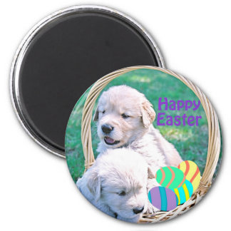 Golden Retriever Puppy Easter Basket 2 Inch Round Magnet
