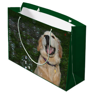 Golden Retriever Puppy in Bubbles Large Gift Bag
