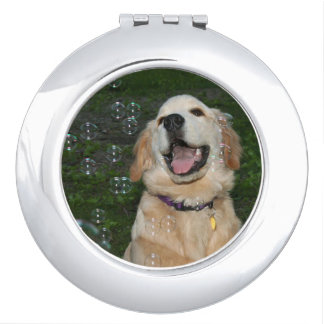 Golden Retriever Puppy in Bubbles Mirrors For Makeup