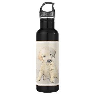 Golden Retriever Puppy Painting - Original Dog Art 710 Ml Water Bottle