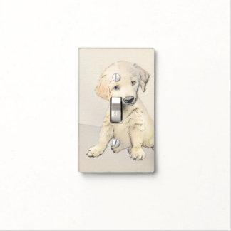 Golden Retriever Puppy Painting - Original Dog Art Light Switch Cover