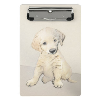 Golden Retriever Puppy Painting - Original Dog Art Mini Clipboard