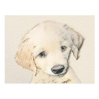 Golden Retriever Puppy Painting - Original Dog Art Postcard