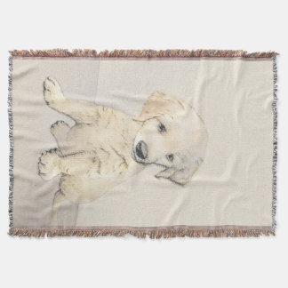 Golden Retriever Puppy Painting - Original Dog Art Throw Blanket