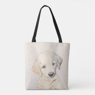 Golden Retriever Puppy Painting - Original Dog Art Tote Bag