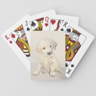 Golden Retriever Puppy Playing Cards