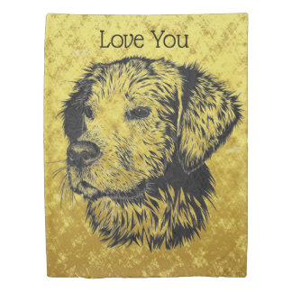 Golden retriever puppy portrait in black and gold duvet cover