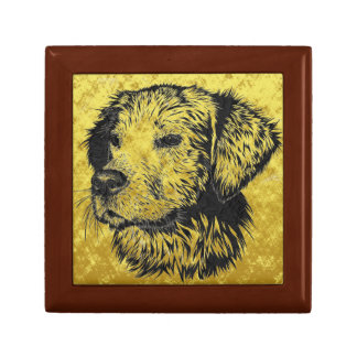 Golden retriever puppy portrait in black and gold gift box