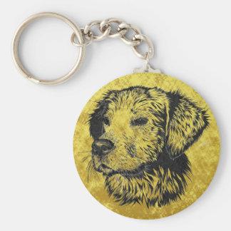 Golden retriever puppy portrait in black and gold keychain