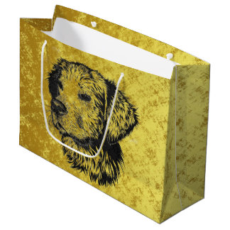Golden retriever puppy portrait in black and gold large gift bag