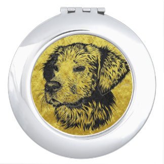 Golden retriever puppy portrait in black and gold makeup mirrors