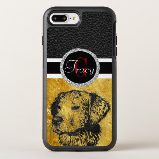 Golden retriever puppy portrait in black and gold OtterBox symmetry iPhone 8 plus/7 plus case