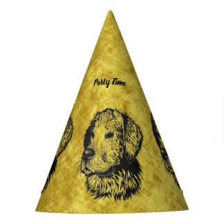 Golden retriever puppy portrait in black and gold party hat