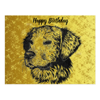 Golden retriever puppy portrait in black and gold postcard