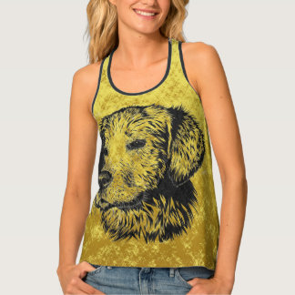 Golden retriever puppy portrait in black and gold tank top