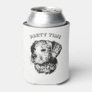 Golden retriever puppy portrait in black and white can cooler