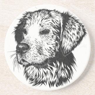 Golden retriever puppy portrait in black and white coaster