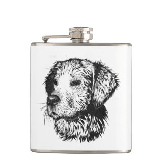 Golden retriever puppy portrait in black and white hip flask