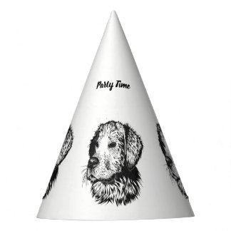 Golden retriever puppy portrait in black and white party hat