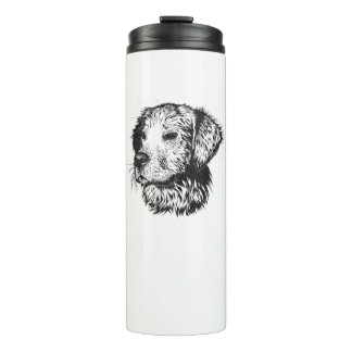 Golden retriever puppy portrait in black and white thermal tumbler