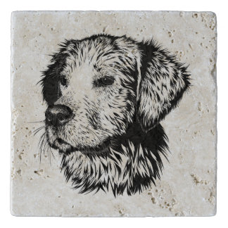 Golden retriever puppy portrait in black and white trivet