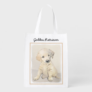 Golden Retriever Puppy Reusable Grocery Bag