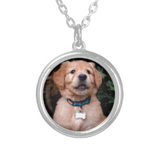 Golden Retriever Puppy Silver Plated Necklace